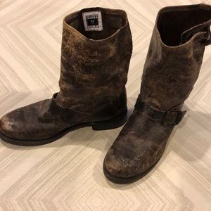 Frye Ankle Boots Distressed Brown with Buckles